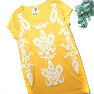 MEADOW RUE   sz M yellow embroidered shift dress